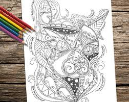 Adult Coloring Page Book Printable Instant Download Cat