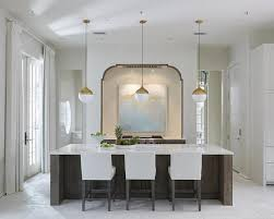 white and gold pendants stained kitchen island with