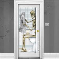 skelett badezimmertür poster 1 5m