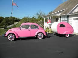 Pink VW Bug And Teardrop Tear Drop Camping
