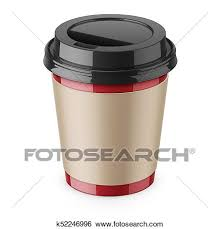 Clip Art Of Disposable Paper Coffee Cup With Lid And Sleeve