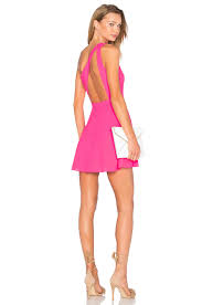 nbd x naven twins zip me up one shoulder dress in fucshia revolve