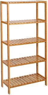 songmics badezimmerregal mit 5 ebenen aus bambus küchenregal 9 stufig höhenverstellbar multifunktionales standregal im wohnzimmer flur 60 x 26