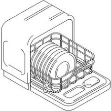 Dishwasher Drawing Dishes In Sketch Coloring Page