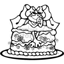 Royalty Free black and white frog sitting on top of a cake vector clip art image EPS illustration