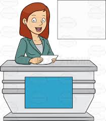 A Cheerful Female News Anchor Reporting Happy Cartoon