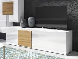 lowboard 200cm weiß weiß hochglanz eiche grandson modern tv schrank tv board