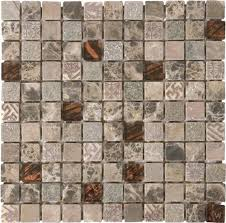 bati orient marble tile mosaic 1 x 1 mix brown