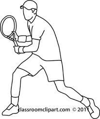 Sports Clipart tennis player back hand stroke black Classroom