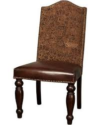 Sofia ZWSF73PTB 44 Dining Room Chair With Nail Head Trim Tapered Legs Upholstered Brown Leather