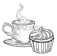 Cup of Tea and Cupcake Vintage Retro Style Vector