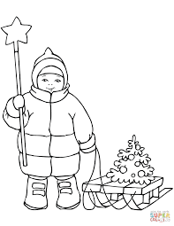 Click The Cute Boy With Christmas Star And Sled Coloring Pages To View Printable Version Or Color It Online Compatible IPad Android Tablets