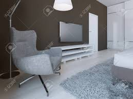 weiche graue sessel in minimalistischen schlafzimmer 3d übertragen