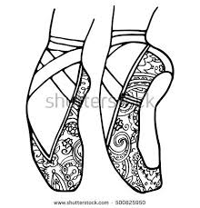 Ballet Shoes Pointe Adult Coloring Book Page Black And White Monochrome Dance