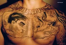 Graffiti Chest Piece Tattoo Design For Men