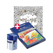Secret Garden Coloring Book With Staedtler 36 Colored Pencils And Double Hole Tub Pencil Sharpener