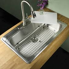 Overmount Kitchen Sinks Stainless Steel by Entrancing Rectangle Shape Overmount Kitchen Sink Come With