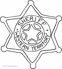 Sheriff Star Coloring Sheet For Kids