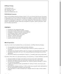 Resume Templates Affiliate Marketing Manager