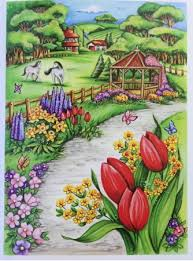Spring Scenes Pages For Coloring By Creative Haven