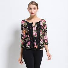 Lossky 2016 Women Flowers Printing Chiffon Blouses Lace Stitching Casual Shirts O Neck Three Quarter
