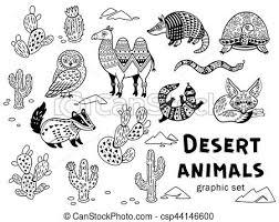 Black and white set of desert animals Collection of desert