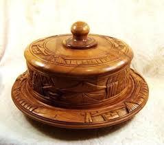 Wooden Cake Pedestal Wood Fruit Display Monkey Pod Plate Stand Vintage Era Rustic Stands