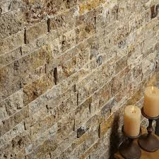 Scabos Travertine Natural Stone Wall Tile by Mekmar Mosaics Splitface Mosaic Scabos Travertine Mosaic