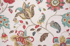 Jacobean Floral Curtain Fabric by Floral Vine Drapery Prints Drapery Fabric Discount Floral Vine