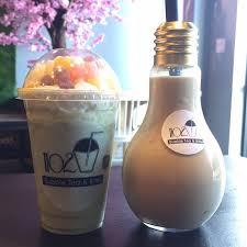 1102 matcha blended lightbulb black milk tea really