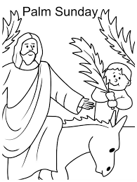 Kid Wave Palm Tree Branch In Front Of Jesus Sunday Coloring Page