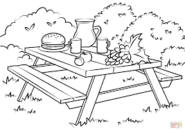 Picnic Coloring Pages Table Page Free Printable Books
