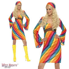 FANCY DRESS COSTUME LADIES 1960s 70s RETRO RAINBOW HIPPIE LARGE 16 18