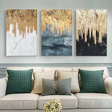 3 pieces original abstract gold leaf waterfall black and