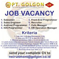 Lowongan Kerja Medan PTGolgon Tersedia Banya Posisi Tingkat