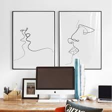 baise dans la chambre gy24 abstraite baiser affiches imprimer toile moderne mur