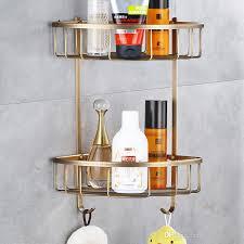 großhandel moderne antike brassshower regal shoo halter badezimmer corner rack storage basket hanger wand befestigt gonglangno1 44 12 auf