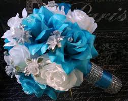 Malibu Blue White Rose With Silver Accents Wedding Bouquet Bridal Turquoise