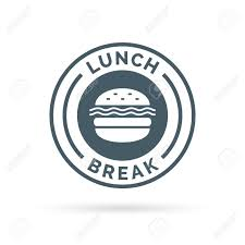 Fastfood Lunch Break Badge Sign With A Cheeseburger Meal Icon Silhouette Illustration Stock Vector