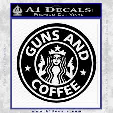 Starbucks Guns And Coffee Decal Sticker Black Vinyl