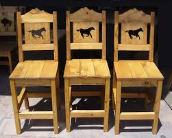Cabin Series Bar Stools Rustic Mountain Western Ranch Style With Horse Cutouts