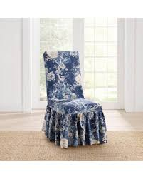 Sure Fit Waverly Ballad Bouquet Long Dining Room Chair Slipcover Blue
