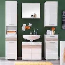 details zu badmöbel set weiß hochglanz und eiche sonoma badezimmer möbelset 5 teilig mezzo
