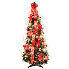 4 Ft Pull Up Fully Decorated Prelit Poinsettia Tree By NorthwoodsTM 356296