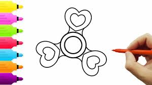 How To Draw And Color Fidget Spinner L Heart Kids Drawing Coloring Videos For