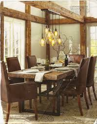 This Dining Room Has A Cozy Rustic Lodge Feel With Its Table Leather Chairs Beautiful Wooden Beams And Multi Stand Light Fixture