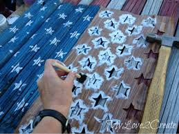 Stenciling On The Stars To American Flag