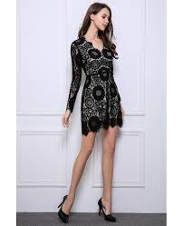 stylish a line black lace mini wedding guest dresses with long