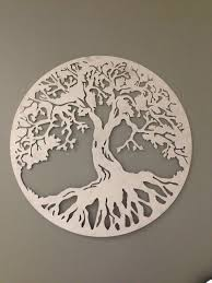 Abstract Glass Wall Art Tree Of Life Small Accent Decoration Gray Silver Bronzed Altered Combination Circles Hang