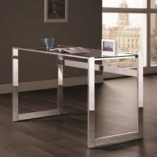 Tempered Glass Computer Desk by Contemporary Style Chrome Writing Desk W Tempered Glass Top